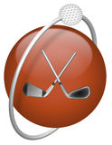 Golf driver and ball red icon Stock Images