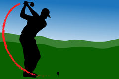 Golf Driver T-Off with fire Stock Images