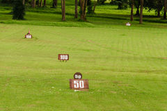 Golf driving range course in summer Stock Photos