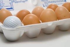 Golf Egg. A lone golf ball in a carton of fresh eggs Stock Image