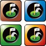 Golf el agujero en uno en iconos multicolores del Web Imágenes de archivo libres de regalías