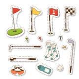 Golf el ejemplo golfing del vector de los elementos del juego del agujero de la bandera del símbolo del deporte del jugador del c Imagen de archivo libre de regalías