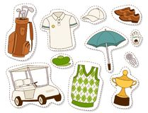 Golf el ejemplo golfing del vector de los elementos del juego del agujero de la bandera del símbolo del deporte del jugador del c Imágenes de archivo libres de regalías