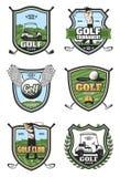 Golf el torneo, iconos del vector de la heráldica del club de deporte ilustración del vector