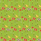 Golf el vector inconsútil golfing del fondo del modelo del juego del agujero de la bandera del símbolo del deporte del jugador de Imágenes de archivo libres de regalías