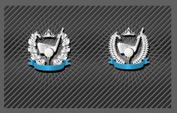 Golf emblem. Blank Golf emblem template with wreath and ribbon Royalty Free Stock Photos
