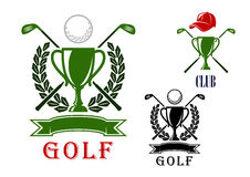 Golf emblem and badges design templates. Golf club or tournament emblem and badges design templates with trophy cups, crossed clubs, balls, laurel wreath and Royalty Free Stock Photos