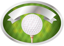 Golf Emblem. An illustration of a golf ball on tee emblem. Room for copy space. Vector EPS 10 file available. EPS file contains transparencies Royalty Free Stock Image