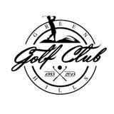 Golf Emblemen voor golf met twee gekruiste clubs, bal Retro etiketontwerp prentbriefkaar stock illustratie