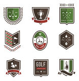 Golf Emblems. Vector set of nine colored golf emblems Stock Photos