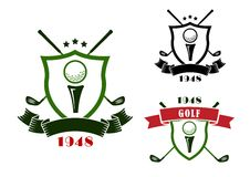 Golf emblems with shields, balls and clubs Stock Images