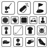 Golf en attributen zwarte pictogrammen in vastgestelde inzameling voor ontwerp Golfclub en materiaal het vectorweb van de symbool royalty-vrije illustratie