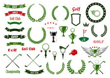 Golf en golfing sportelementen of punten royalty-vrije illustratie