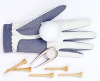 Golf equipement. Over white Royalty Free Stock Images