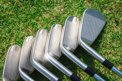 Golf equipment. On green grass Stock Images