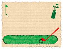 Golf equipment. Colored banner with green flag and golf equipment Royalty Free Stock Photo