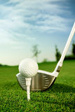 Golf. Equipment,  ball with tee on course and stick royalty free stock photography