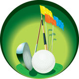 Golf equipment in button. Illustration of golf club, ball and flags on golfing green in circular button, isolated on white background Royalty Free Stock Photos
