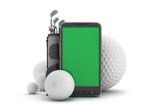 Golf equipment and cell phone. On white background Stock Photos