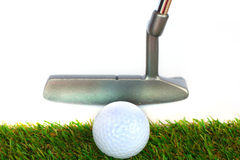 Golf equipment and golf ball on white background Royalty Free Stock Images
