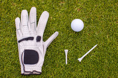 Golf equipment on green grass Stock Photography