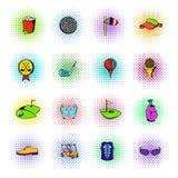 Golf equipment icons set, comics style Royalty Free Stock Photo