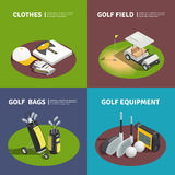 Golf Equipment 2x2 Isometric Design Concept. Golf 2x2 isometric design concept with golfer clothes golf bags cart on field and golf equipment square compositions Royalty Free Stock Photos