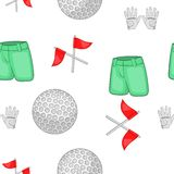 Golf equipment pattern, cartoon style Royalty Free Stock Photography
