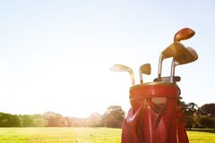 Golf equipment. Professional clubs on golf course Royalty Free Stock Images