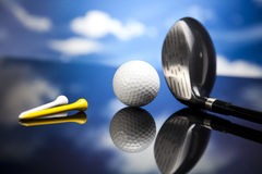 Golf equipment, vivid colorful theme Stock Photo