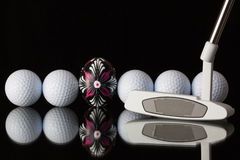 Golf equipments and egg Stock Photos