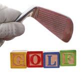 golf för blockklubbahandske Royaltyfri Fotografi
