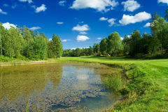 Golf fairway along a pond. Swedish golf landscape on a sunny day in July Stock Photo
