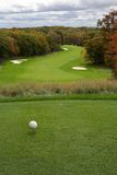 Golf Fairway in Autumn. Tee off in a beautiful ravine setting fairway in Autumn Stock Photo