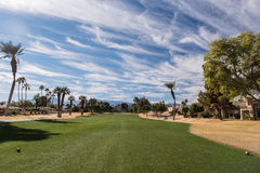 Golf fairway is green surrounded by brown rough Stock Photo