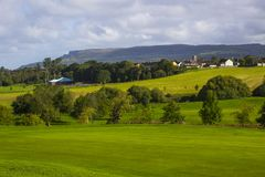 A golf fairway and in the parkland course in the Roe river valley near Limavady in Northern Ireland with the magnificent Bie stock images