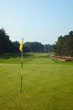 Golf field. With yellow flag in pine forest Stock Photo