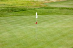 Golf field. The picture of golf field with flag in Albufeira, Portugal Royalty Free Stock Photography