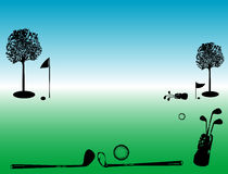 Golf field. Colored illustration with green golf field, trees, flag and golf equipment Royalty Free Stock Photography