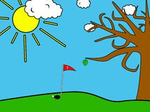 Golf field. Super Simple cartooned golf field with cloudes and tree with last leaf Stock Photography