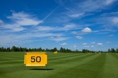 Golf field active leisure. Golf club field grass course active leisure stock image