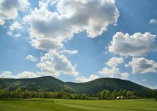 Golf field and beauty landscape Royalty Free Stock Image