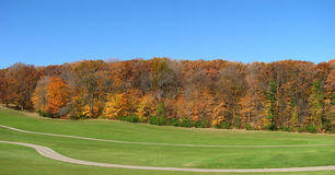 Golf field and fall season in Wisconsin Royalty Free Stock Images