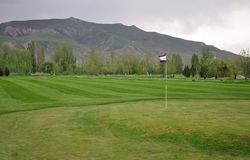 Golf field with flag. With mountain background Stock Image