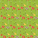 Golf field flags hobby equipment cart player golfing sport symbol flag hole game seamless pattern background vector. Golf field flags hobby equipment cart player Royalty Free Stock Images