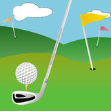 Golf field with funny backgroung Stock Images