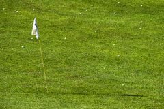 Golf field hole and dozen golf balls Royalty Free Stock Photography