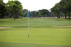 Golf field with hole flag Stock Photos