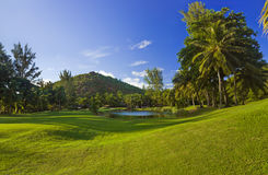 Golf field at island Praslin, Seychelles. Sport background stock photo