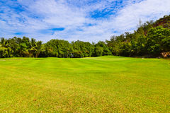 Golf field - island Praslin Seychelles Royalty Free Stock Photography